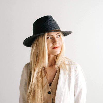 GIGI PIP Hats for Women- Jani Straw Fedora - Navy-Straw Hats