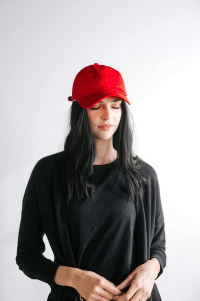 GIGI PIP Hats for Women- Laci Ballcap - Red-Baseball Hat