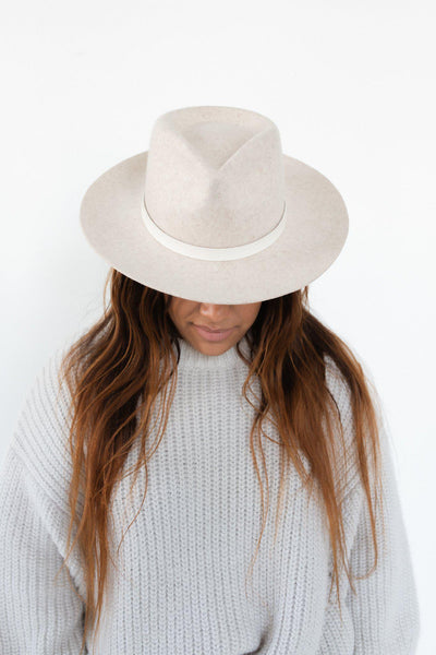 GIGI PIP Hats for Women- Leather Band with Tassels - White-Bands