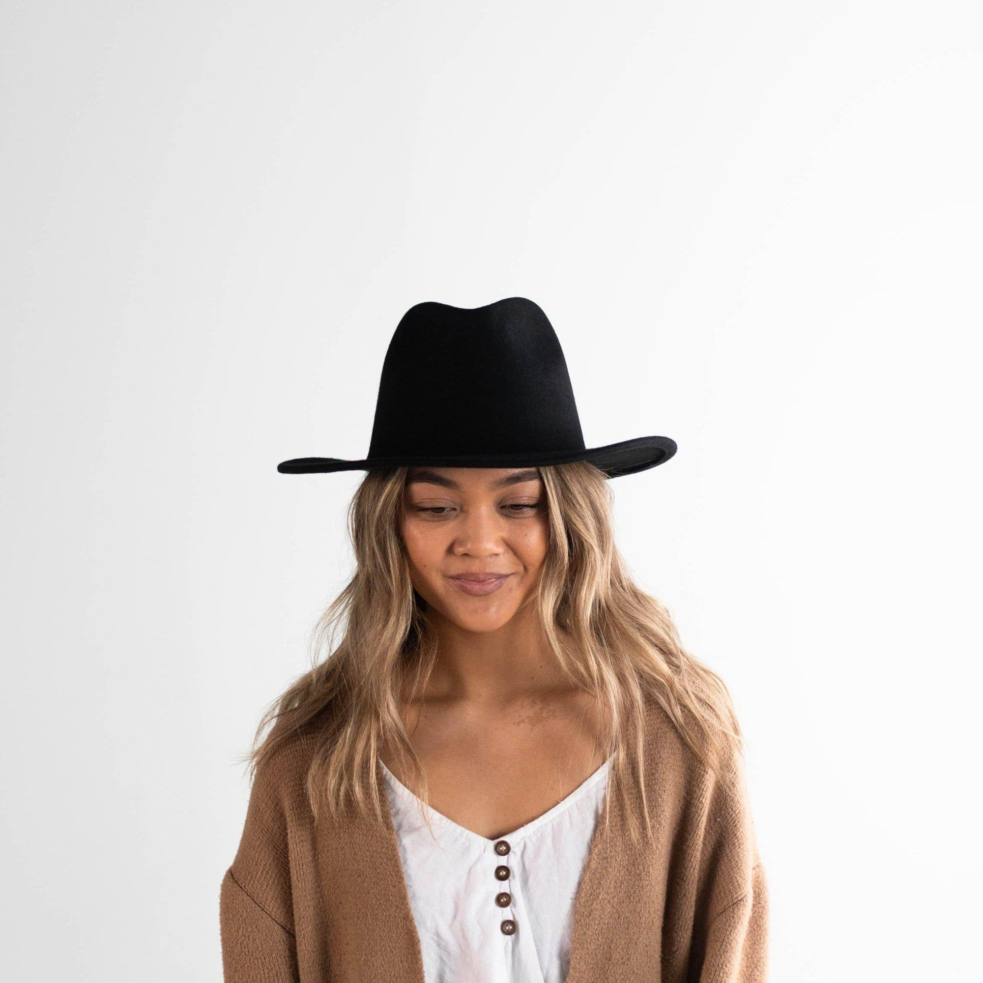 GIGI PIP Hats for Women- Leo Wavy Fedora - Black-Felt Hats
