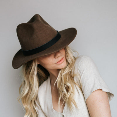 GIGI PIP Hats for Women- Leo Wavy Fedora - Brown-Felt Hats
