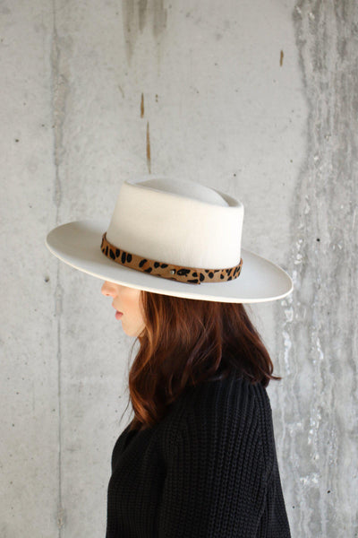 GIGI PIP Hats for Women- Leopard Print Band - Tan-Bands