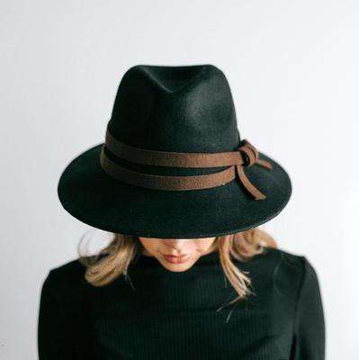 GIGI PIP Hats for Women- Lettie Black - Flat Brim Hat-Felt Hats
