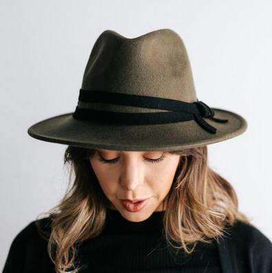 GIGI PIP Hats for Women- Lettie Olive - Flat Brim Hat-Felt Hats
