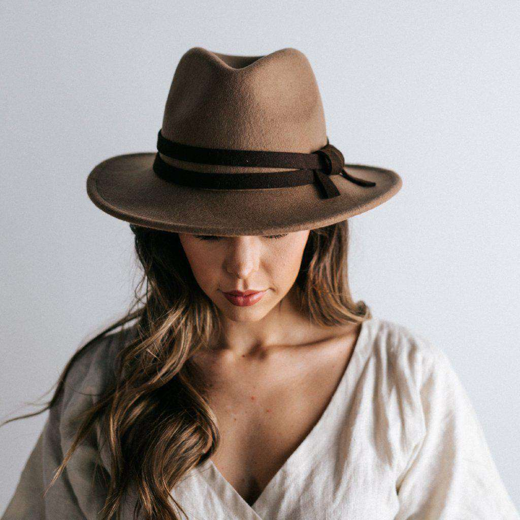 GIGI PIP Hats for Women- Lettie Tan - Flat Brim Hat-Felt Hats