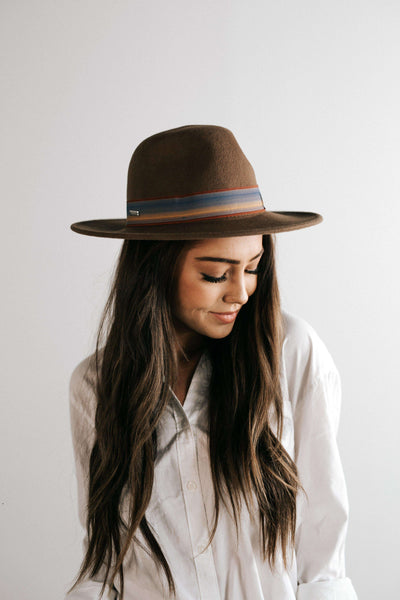 GIGI PIP Hats for Women- Lydia Brown - Classic Pinstripe Felt Hat-Felt Hats