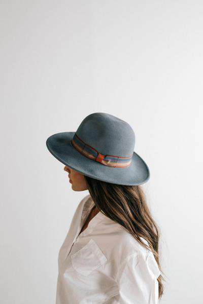 GIGI PIP Hats for Women- Lydia Light Blue - Classic Pinstripe Felt Hat-Felt Hats