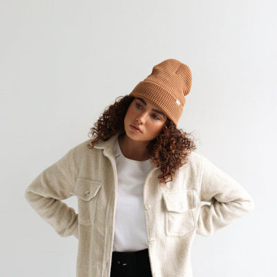 GIGI PIP Hats for Women- Marsh Waffle Knit Beanie - Cinnamon-Beanie