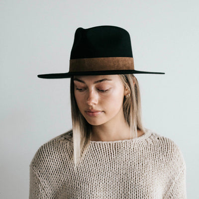 GIGI PIP Hats for Women- Miller Fedora - Black with Brown Band-Felt Hats