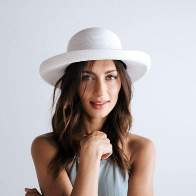 GIGI PIP Hats for Women- Mona Curled Brim Hat - White-Straw Hats