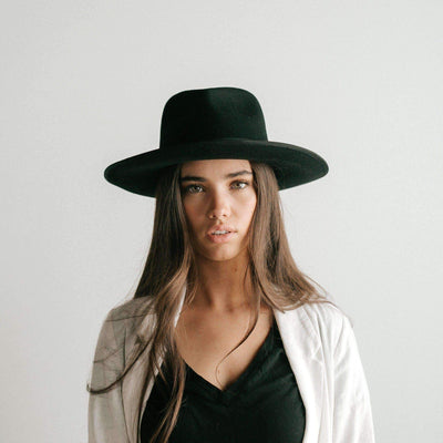 GIGI PIP Hats for Women- Monroe Rancher - Black-Felt Hats