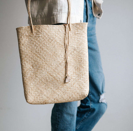 Stella - Natural backpack with leather trim