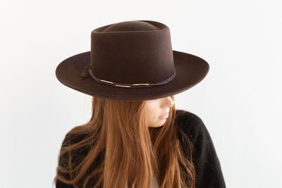 GIGI PIP Hats for Women- Rope Band with Beads - Dark Brown + Brass-Bands