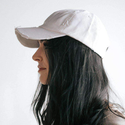 GIGI PIP Hats for Women- Roxy Ballcap - White-Baseball Hat