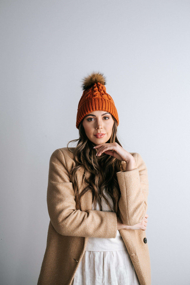 GIGI PIP Hats for Women- Samantha - Burnt Orange Fleece Lined Beanie-Beanie