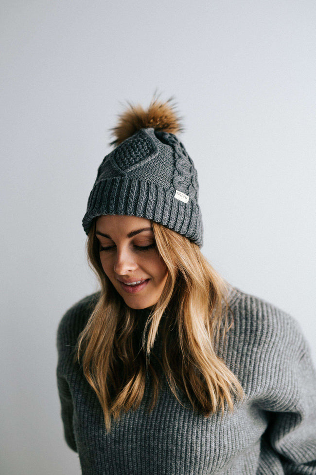 GIGI PIP Hats for Women- Samantha - Grey Fleece Lined Beanie-Beanie