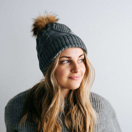 Samantha - Black Fleece Lined Beanie