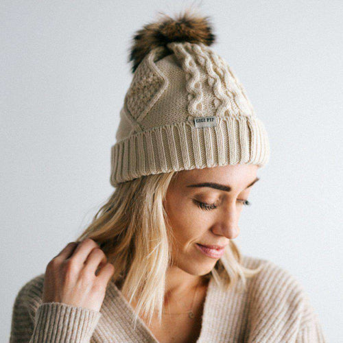 GIGI PIP Hats for Women- Samantha - Ivory Fleece Lined Beanie-Beanie