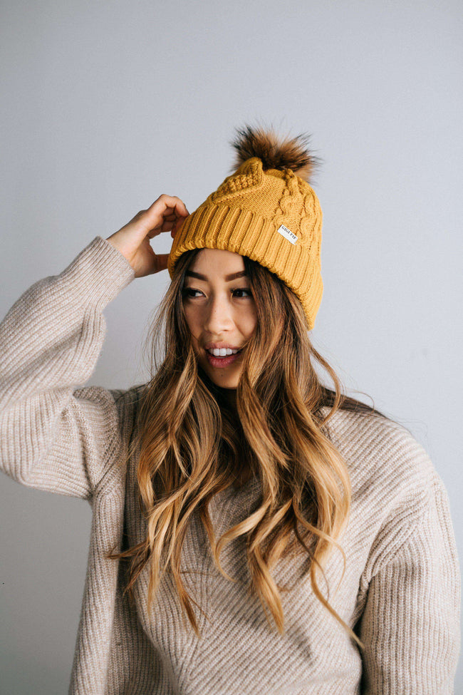 GIGI PIP Hats for Women- Samantha - Mustard Fleece Lined Beanie-Beanie