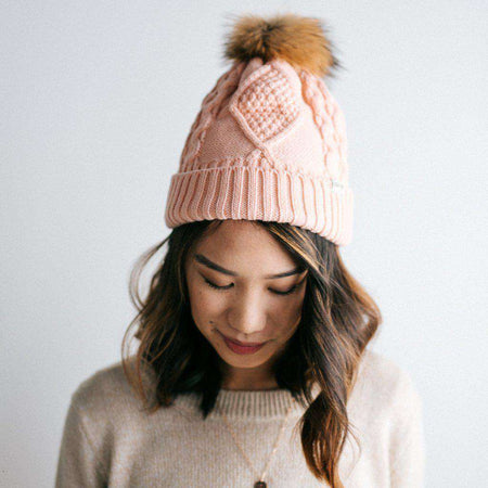 Emery - Knit Beanie with Oversized Pom