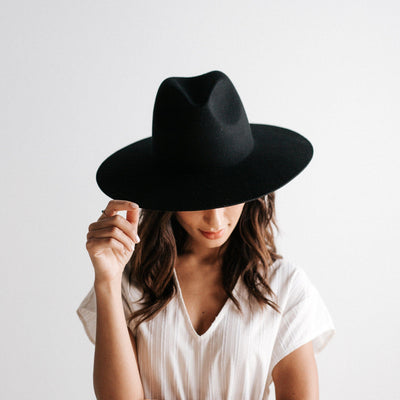 GIGI PIP Hats for Women- Scottie Wide Brim Fedora - Black-Felt Hats