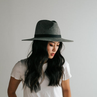 GIGI PIP Hats for Women- Scottie Wide Brim Fedora - Grey-Felt Hats