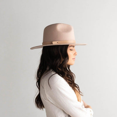 GIGI PIP Hats for Women- Shiloh - Summer Blush Fedora with Leather Band-Felt Hats