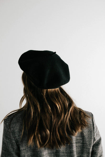 GIGI PIP Hats for Women- Sophie Beret - Black-Women's Cap