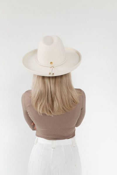 GIGI PIP Hats for Women- The Cara Loren Pencil Brim Hat - Off White-Felt Hats