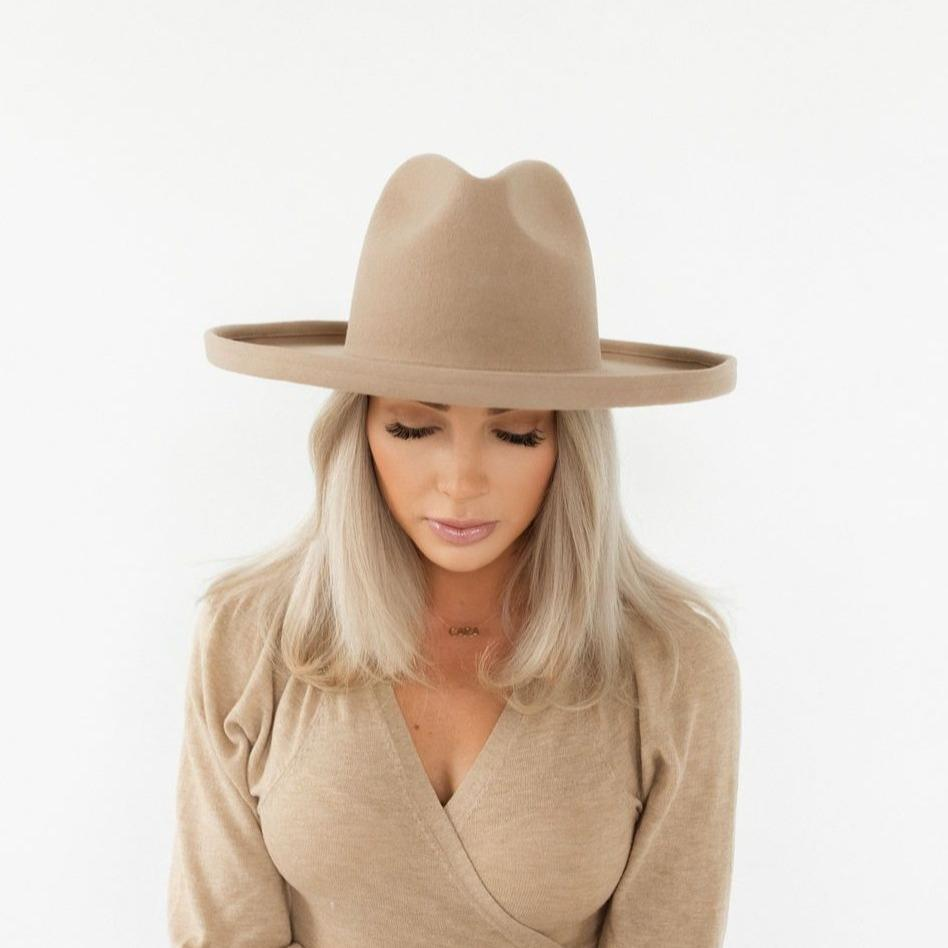 GIGI PIP Hats for Women- The Cara Loren Pencil Brim Hat - Tan-Felt Hats
