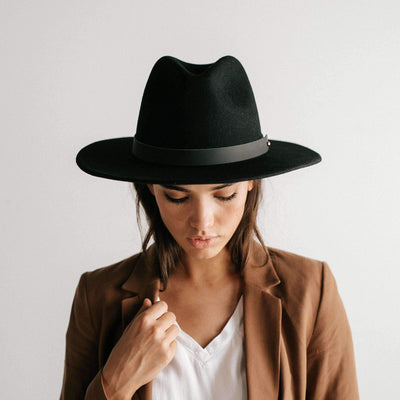 GIGI PIP Hats for Women- Wes Fedora - Black-Felt Hats
