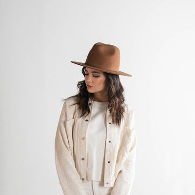 GIGI PIP Hats for Women- Wes Fedora - Brown-Felt Hats