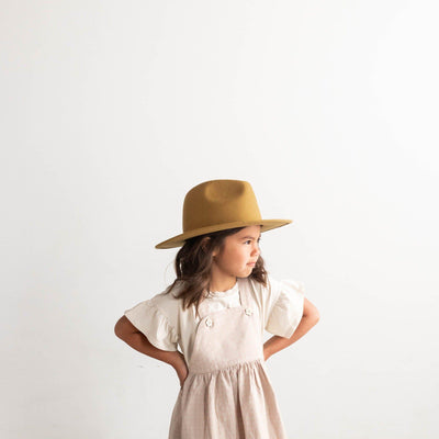 GIGI PIP Hats for Women- Wes Kids Fedora - Mustard-Felt Hats