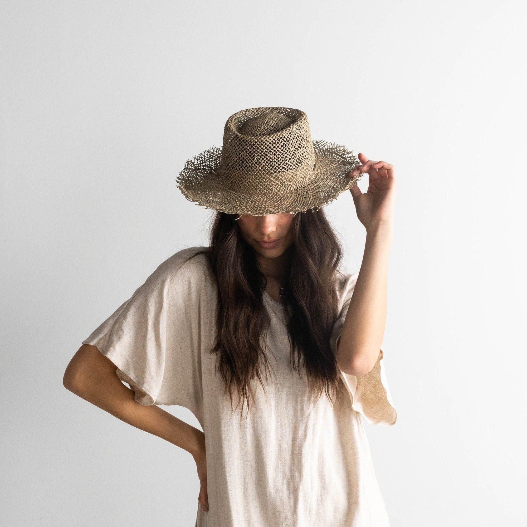 GIGI PIP Hats for Women- Willa - Woven Seagrass Gambler-Straw Hats