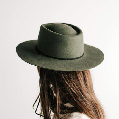GIGI PIP Hats for Women- Wren Flat Brim Telescope Crown Hat - Green-Felt Hats