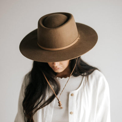 GIGI PIP Hats for Women- Wren Flat Brim Telescope Hat - Brown-Felt Hats