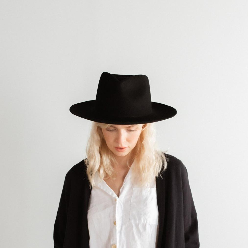 GIGI PIP Hats for Women- Zephyr Rancher - Black-Felt Hats