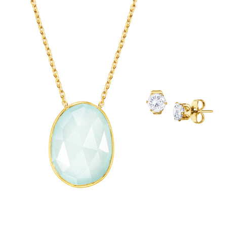 Indian Summer Blue Chalcedony Necklace with Round CZ Earrings