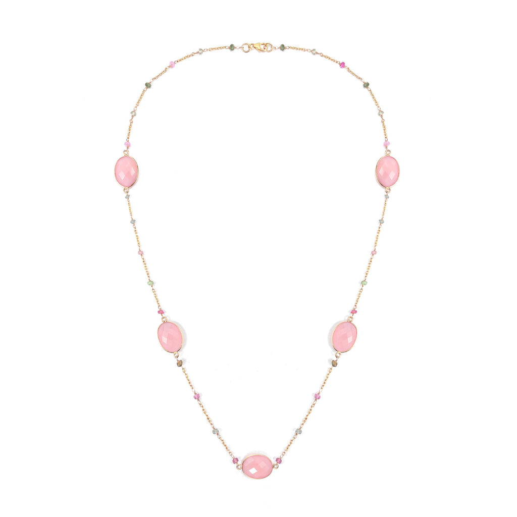 Indian Summer Pink Chalcedony and Multi Color Tourmaline Necklace, 18K Yellow Gold Plating