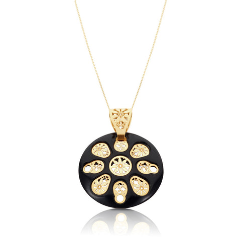 Honeyed Luxury Onyx Filigree Pendant