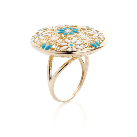 Honeyed Luxury Enamel Filigree Ring