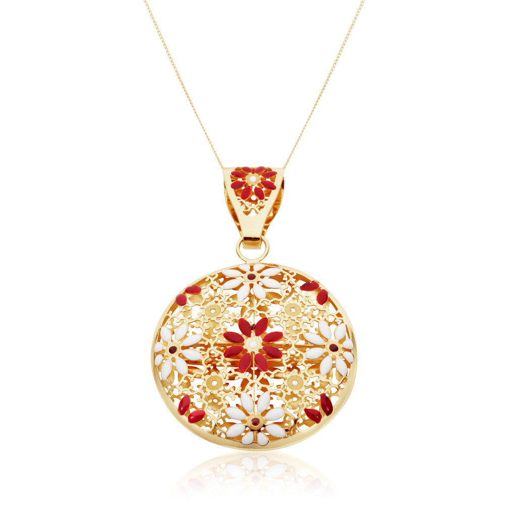 Honeyed Luxury Enamel Filigree Pendant