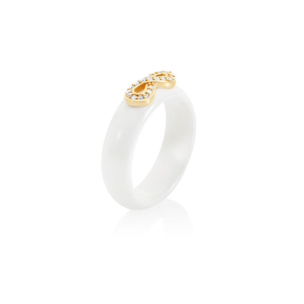 Radiant Hour Diamond Design Ceramic Diamond Ring