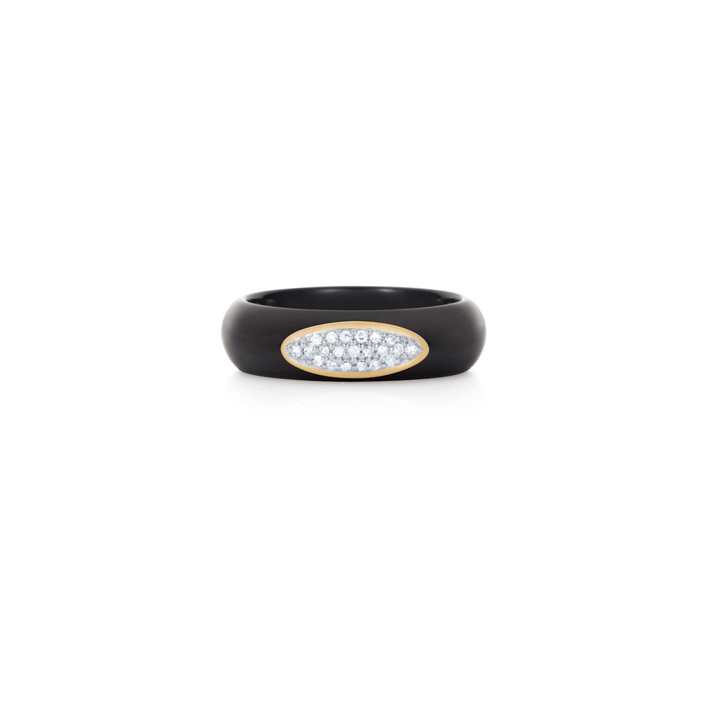 Radiant Hour Oval Design Black Ceramic Ring