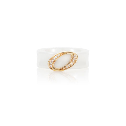 Radiant Hour Halo Design White Ceramic Ring