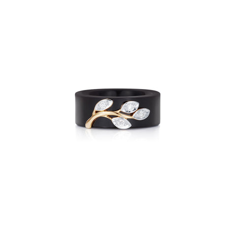 Radiant Hour Leaf Design Black Ceramic Ring