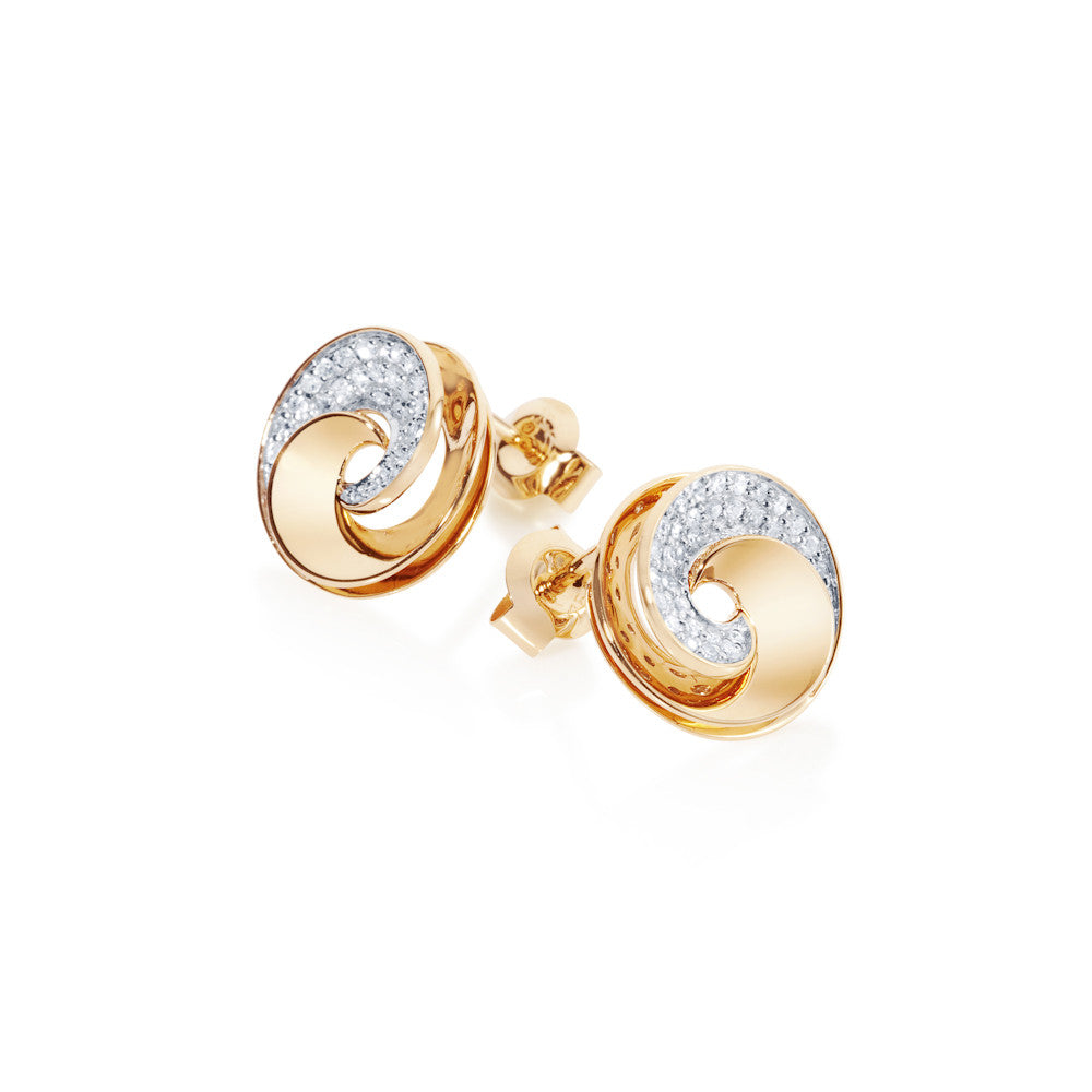Dew Fallen Diamond Swirl Earrings
