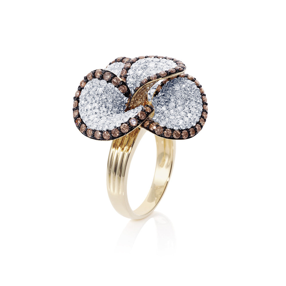 Under The Stars White & Cognac Floral Diamond Ring