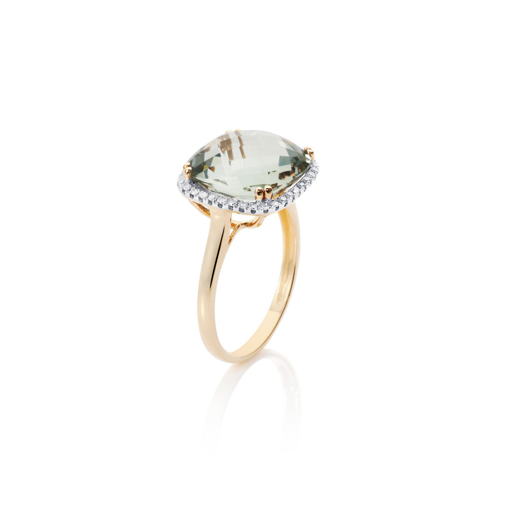 Summer Dusk Prasiolite & Diamond Ring