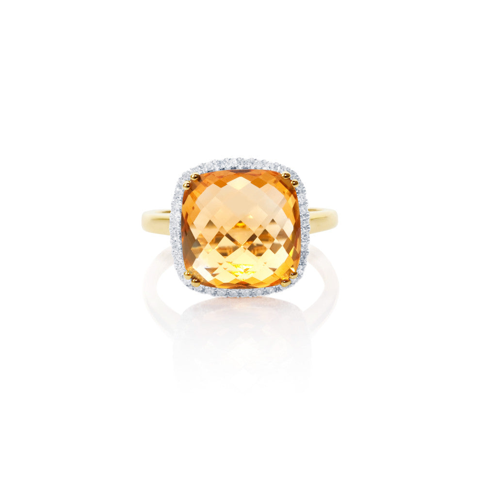 Summer Dusk Citrine & Diamond Ring